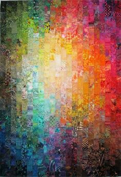 Exuberant Color: Colorwash quilts – Famous Last Words Quilting Beads Patterns Bargello Quilts, Batik Quilts, Quilting Projects, Quilting Designs, Quilting Ideas, Watercolor Quilt, Postage Stamp Quilt, Postage Stamps, Landscape Art Quilts