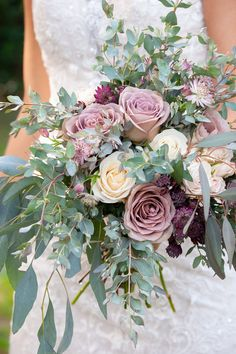 """Everything you need to create our rose, seeded eucalyptus, mauve, lavender & blush bouquet. Our """"Crazy in Love"""" collection includes DIY wedding flowers that brides arrange. Winter Wedding Flowers, Purple Wedding Flowers, Flower Bouquet Wedding, Wedding Colors, Bouquet Flowers, Diy Flowers, Wildflowers Wedding, Flowers Decoration, Pink Bouquet"""