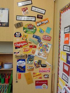 The Kindergarten classrooms have created environmental print word walls.