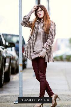A piros lesz az ősz egyik vezető trendszíne. Nem tudod, hogyan építsd be a ruhatáradba? Akkor kezdd egy piros nadrággal, amit sokoldalúan tudsz különféle stílusú ruhadarabokkal kombinálni. Ha a tüzes vöröshöz nincs bátorságod, egy klasszikusan elegáns bordó nadrág is tökéletes választás lesz. Remekül mutat bézzsel, feketével, de akár kékkel és lilával is. Egy tyúklábmintás kabáttal és magassarkúval párosítva szuper irodai outfitet alkothatsz. #őszidivat #pirosnadrág #divattipp #outfit… Parka, Sweaters, Outfits, Dresses, Fashion, Bebe, Vestidos, Moda, Suits