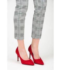 Červené semišové lodičky B2-2R Heeled Mules, Capri Pants, Heels, Fashion, Heel, Moda, Capri Trousers, Fashion Styles, High Heel