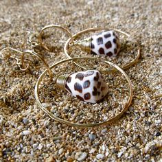 Gold Hammered Hoops, Hawaiian Hebrew Cone Shell Earrings, Hawaii Beach Jewelry, Brown and White. $65.00, via Etsy.