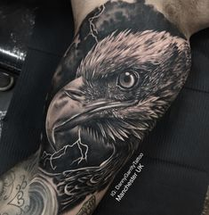 Realistic eagle detailed inner bicep tattoo - Black and grey realism men's tattoo sleeve design - Bicep Tattoo Men, Inner Bicep Tattoo, Cool Forearm Tattoos, Arm Sleeve Tattoos, Tattoo Sleeve Designs, Storm Tattoo, Eagle Drawing, Native American Tattoos, Patriotic Tattoos