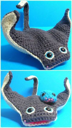 Amigurumi Crochet Manta Ray Free Pattern - Crochet Sea Animals Free Patterns