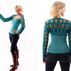 A simple geometric shrug pattern, knited from cuff to cuff.
