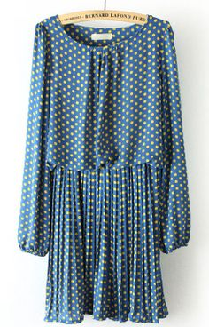 Blue Long Sleeve Polka Dot Pleated Chiffon Dress - Sheinside.com #SheInside