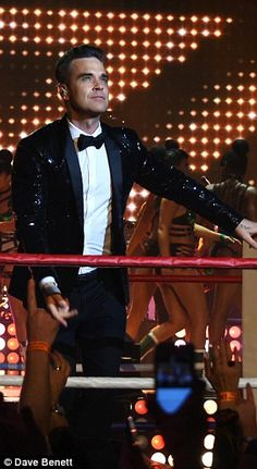 Ever the entertainer: He no doubt took inspiration from his Take That days as he worked the stage