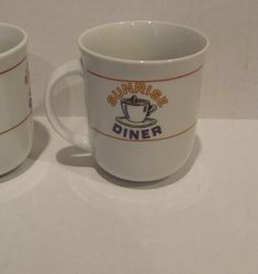 Diner Coffee Mugs, Gift for Couple, Vintage Coffee Mugs, Sunrise Diner Coffee Cups, Gift for Her, Gift for Him, Kitchen Drink ware, Ceramic by BeautyMeetsTheEye on Etsy