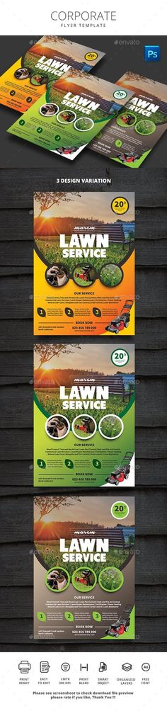 Buy Lawn Service by monggokerso on GraphicRiver. Lawn Service Flyer File Features : Size + Bleed area CMYK / 300 dpi Easy to edit text Well organized PSD. Graphic Design Flyer, Flyer Design, Magazine Advert, Lawn Service, Print Templates, Fashion Week, Flyer Template, Service Design, Print Design