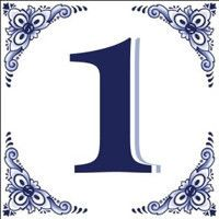 Ceramic Delft Blue House Numbers Tile