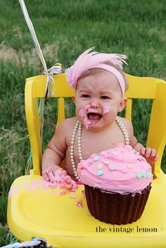 Smash the cake! OH in love with the highchair idea I am on the hunt for one now so stinking cute. So many ideas I am in heaven!