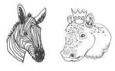 NATURAL-HISTORY-MUSEUM - Quick fine-liner drawings of some of my favourite exhibits at the Natural History Museum, London. Zebra and Hippo.