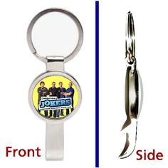 The Impractical Jokers Pennant or Keychain silver tone secret bottle opener