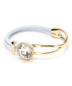 Love this White & Gold Jewel Loop Stretch Bracelet on #zulily! #zulilyfinds