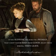 Have you ever been pigeonholed into a task, role or societal ideal because of your gender? Thomas Hardy sought to explore that discomfort with gender-based stereotypes by creating his character of Bathsheba Everdene - a late century figurehead. Tv Show Quotes, Movie Quotes, Far From Madding Crowd, Film Movie, Series Movies, Thomas Vinterberg, The Fault In Our Stars, Period Dramas, Movies Showing