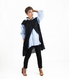 Black Cardigan Ladies Tunic Top Plus Size Top Long от FatBerry