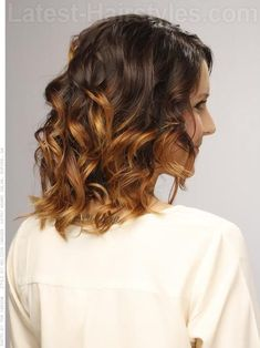 Medium Blonde Brown Curly Style Back View