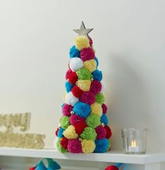 How to Make a Pom Pom Tree #christmas #pompom #decor