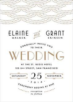 Art deco themed gold and black wedding invitation - so glamorous #wedding #gold…