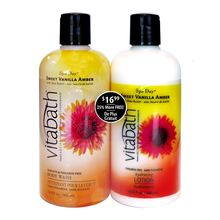 Your bubble bath doesn't have to break the bank! Rest easy with our Clearance Bath Sets! Check out discount products like our Spa Day Sweet Vanilla Amber Body Wash & Lotion Set. #VitabathBubbles