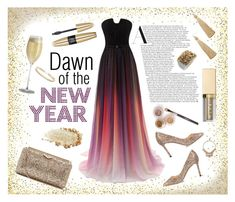 """New Year's Sunrise"" by saydtin ❤ liked on Polyvore featuring Jimmy Choo, Younique, Talbots, NAKAMOL, Victoria's Secret, Schott Zwiesel, ABS by Allen Schwartz, party, colorful and glitter"