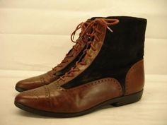womens 8.5 N Vaneli lace-up brown leather ankle boots granny victorian edwardian #Vaneli #FashionAnkle #Casual