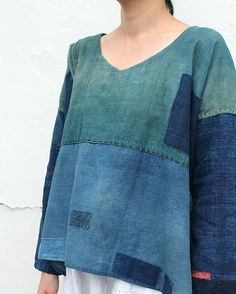 """""""SASAKI-JIRUSHI"""" Japanese boro patchwork indigo shirt Made by us Material:Antique century) Color:Natural indigo Refashioning, Shirts & Tops, Sewing Clothes, Dressmaking, Ideias Fashion, Cool Outfits, My Style, How To Wear, Women"""