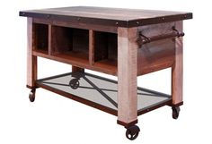 Bayshore Prep Table / Bar Table / Industrial Bar Cart / Reclaimed Wood Kitchen Island - Distressed painted Pine wood with hand rubbed protective finish that wont fade - Retro-Industrial look - Set on Funky Furniture, Bed Furniture, Kitchen Furniture, Rustic Furniture, Furniture Ideas, Classic Furniture, Furniture Outlet, Industrial Furniture, Discount Furniture