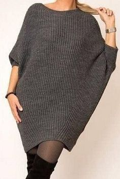 Платье свободного модного силуэта (Вязание спицами) | Журнал Вдохновение Рукодельницы