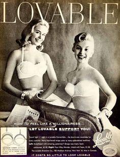 1956 Ad Vintage Lovable Brassiere Sweetheart Strap Strapless Underwear YPP4