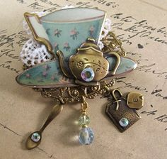 Tea Jewelry Tea Cup Brooch Vintage Rosie's Tea by SunshineCottage, $25.00