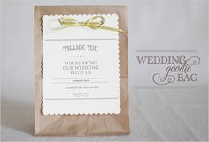 wedding favor bag ... if you have a candy bar than this is where they can set up their own favor or add sweets in there and make an announcement?