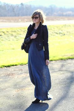 maxi dress with blazer and boots for fall/winter