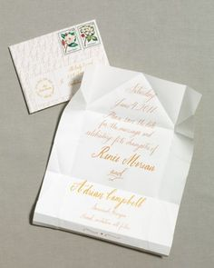 With its graceful calligraphy, this letter captures the romance of a love note from another era, but with a contemporary twist: It folds into its own origami-style envelope. Each piece is delicate, so request that the post office hand-cancel them.