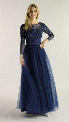 Elegant Long Dress Tulle with Appliqued Long Sleeves Dress Calm Dark Navy Formal Long Gown Martha is mature and dignified. This dress is so elegant because of the typical A-line style and delicate app Bridesmaid Dresses With Sleeves, Prom Dresses Two Piece, Mother Of Groom Dresses, Gowns With Sleeves, Black Prom Dresses, Elegant Dresses, Pretty Dresses, Long Gown Dress, Tulle Prom Dress