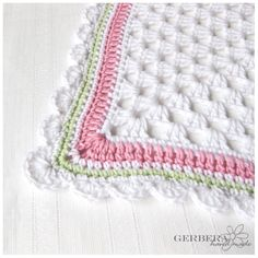 Baby girl blanket - crochet afghan - pastel olive green pink and white
