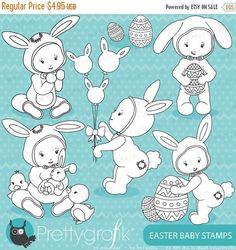 80% OFF SALE easter babies digital stamp commercial use