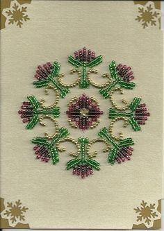 Burgundy Beaded Card by stitchingcoop1234