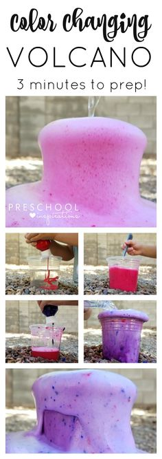 Make a quick and easy color changing baking soda and vinegar volcano for kids!