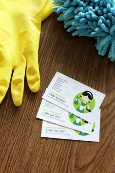 Make a clean design for your home cleaning service promotional tools. Add a cartoon icon for playful-looking business cards and flyers.