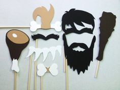 8 Caveman Photo Booth Props - Paleo Party - Caveman and Cavewoman on Etsy… Photos Booth, Photo Booth Props, Bachelorette Photo Booth, The Good Dinosaur, Stone Age, Dinosaur Party, Sign Printing, Party Time, Crafts For Kids