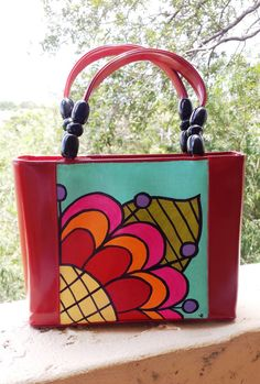 Mexican Flower Hand Painted Red Purse Wood Beads by Vivian Estalella