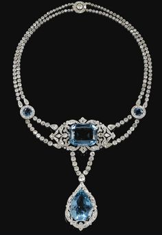 Fine and Important Aquamarine and diamond necklace, Cartier, 1912 - Sotheby's. Necklace of Olga Karnovich Princess Paley, the second and morganatic wife of Grand Duke Paul Alexandrovich of Russia Tsar Alexander III's brother. Royal Jewelry, Jewelry Box, Jewelry Accessories, Fine Jewelry, Jewelry Design, Jewlery, Luxury Jewelry, Jewelry Necklaces, Jewelry Trends