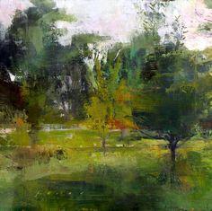 bofransson: Douglas Fryer - Garden at Twighlight Impressionist Landscape, Abstract Landscape, Landscape Paintings, Guache, Wow Art, Mondrian, Tree Art, Painting Inspiration, Les Oeuvres