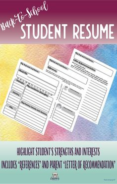 BackToSchool Student Resume  Perfect For The First Day Of