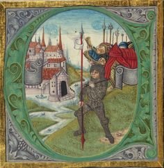 Illuminated Manuscript, Bible (part), Joshua in silver armor leads the assault on Jericho
