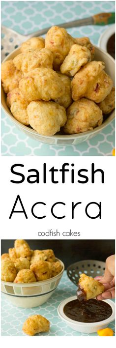 A Caribbean favourite of fried saltfish (cod fish) in a flour batter. Accra, alsoo known as saltfish fritters, codfish fritters, fish cakes. Fish Recipes, Seafood Recipes, Indian Food Recipes, Cooking Recipes, Carribean Food, Caribbean Recipes, Accra, Saltfish Fritters, Chefs