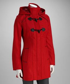 Look at this #zulilyfind! Red Toggle Hooded Coat by Yoki #zulilyfinds