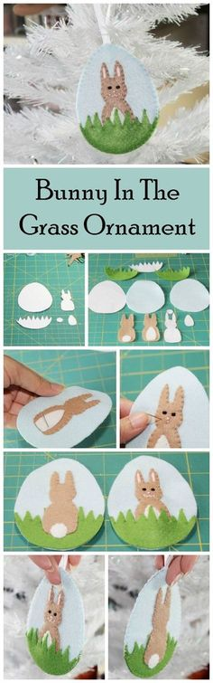 Bunny In The Grass Ornament Felt Digital DIY PDF Pattern. Click to buy now!
