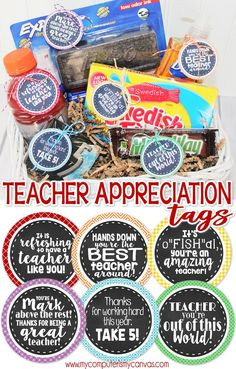 Teacher Appreciation Printables, Gift Tags, Gift Ideas for Teachers, Gift Basket Ideas, Printable Gift Tags! Teacher Appreciation Week, Teacher Gifts, Employee Appreciation, Teacher Treats, Best Teacher, School Teacher, Making A Gift Basket, Gift Tags Printable, Teacher Favorite Things